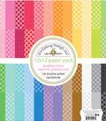 Doodlebug Petite Prints  Gingham & Linen Cardstock 12\u0022X12\u0022-Rainbow