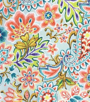Outdoor Fabric-Ikat Paisley Turquoise