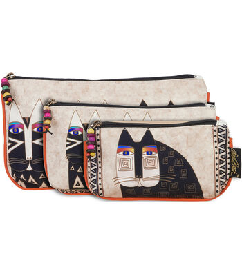 Laurel Burch Cosmetic Bags 3/Pkg Wild Cats