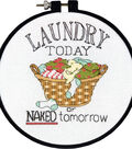 Learn-A-Craft Laundry Today Counted Cross Stitch Kit-6\u0022 Round 14 Count