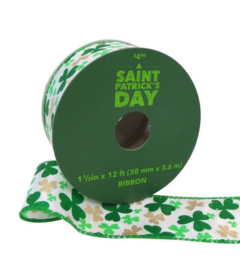 St. Patrick's Day Ribbon 1.5''x12'-Tossed Shamrocks on White