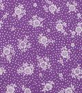 1930\u0027s Cotton Fabric 43\u0022-Dot Floral Bouquet Purple