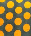 Anti-Pill Fleece Fabric- Green And Gold Dots