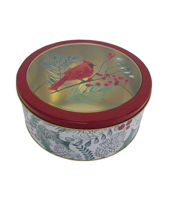 Maker's Holiday Christmas Medium Round Clear Top Cookie Tin-Cardinal