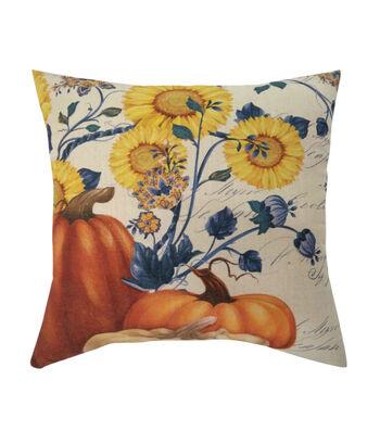 Fall Into Color 18''x18'' Pillow-Pumpkin & Sunflower