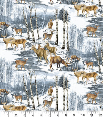 Snuggle Flannel Fabric 42''-Wintertime Deer