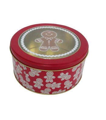 Maker's Holiday Small Round Clear Top Cookie Container-Gingerbread