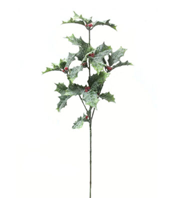 Blooming Holiday Christmas 26'' Holly Leaves & Berry Spray-Green & Red