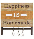 Happiness is Homemade Plank Decor with Hooks