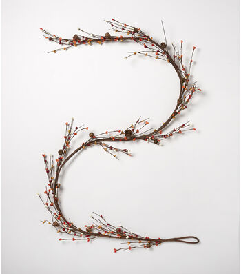 Blooming Autumn 66'' Pinecone & Mixed Berry Garland-Brown