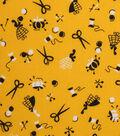 1930\u0027s Cotton Fabric 43\u0022-Sewing Notions Yellow