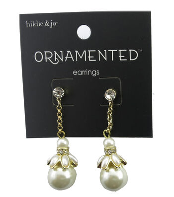 hildie & jo™ Ornamented 1.75'' Gold Earrings-Round & Oval Pearls