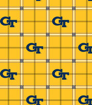 "Georgia Tech Yellow Jackets Flannel Fabric 42""-Plaid, , hi-res"