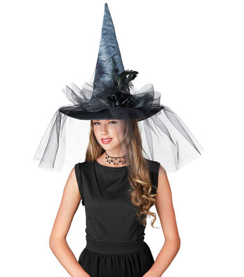 Maker's Halloween Witch Hat with Flowers, Feathers & Tulle-Black & Gray