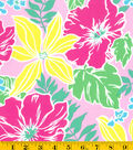 Summerville Sateen Fabric-Tropical Floral Pink