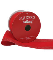 Maker's Holiday Christmas Velvet Ribbon 2.5''x25'-Red with Shiny Edge, , hi-res
