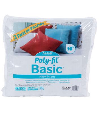 """Poly-Fil Basic 2PK 16""""x16"""" Pillow Inserts"""