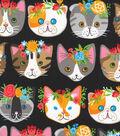 Novelty Cotton Fabric 44\u0022-Cat Heads On Black
