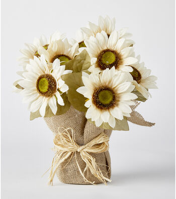 Blooming Autumn 13'' Sunflower Potted-Cream