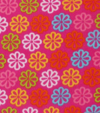 "Blizzard Fleece Fabric 59""-Bright Pink Daisy"