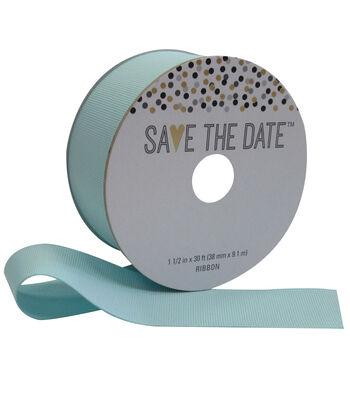 Save the Date 1.5'' X 30' Ribbon-Blue Grosgrain