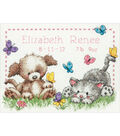 Pet Friends Baby Birth Record Counted Cross Stitch Kit-12\u0022X9\u0022 14 Count