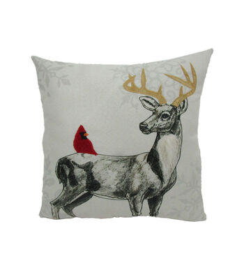 Maker's Holiday Christmas Pillow-Deer & Cardinal