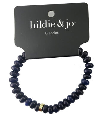 hildie & jo Beads Stretch Bracelet-Dark Blue with Gold Accent