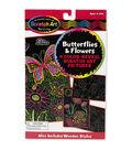 Melissa & Doug Scratch Art Color Reveal Pictures 6\u0022X10\u0022 4/Pkg-Butterflies & Flowers
