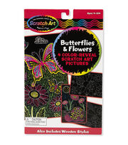 "Melissa & Doug Scratch Art Color Reveal Pictures 6""X10"" 4/Pkg-Butterflies & Flowers, , hi-res"