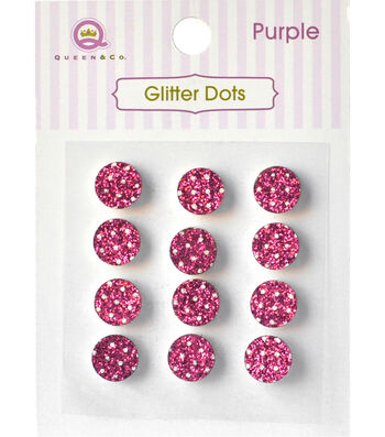 Queen & Co Glitter Dots 8mm Self-Adhesive-Pink