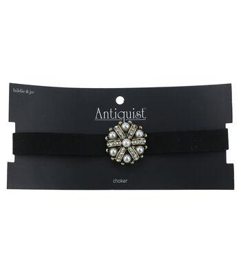 hildie & jo™ Antiquist 16'' Choker with Pearl Pendant-Black
