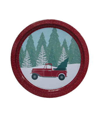 Maker's Holiday Christmas Round Cookie Platter-Truck