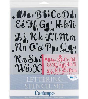 Blue Hills Studio  Lettering Stencil 4 Piece Sets-Contempo
