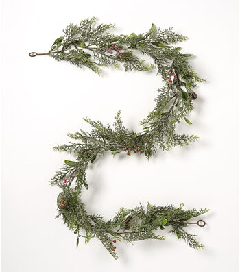 Blooming Holiday Christmas 66'' Cedar Pine & Berry Garland-Green