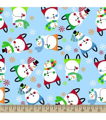 Christmas Print Fabric-Sledding Snowman