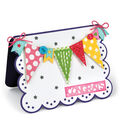 Sizzix Framelits Dies-Scallop with Greetings Drop-Ins Card