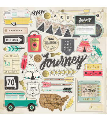 Crate Paper Journey Chipboard Gold Foil Accents Stickers 12''x12''