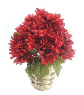 Blooming Autumn 14'' Mum Basket-Red