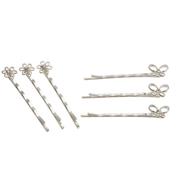 Darice Bobby Pins 6/Pkg-Assorted Silver Flower/Butterfly