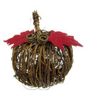 Pumpkin Boutique Extra Small Rattan Pumpkin with Red Leaves