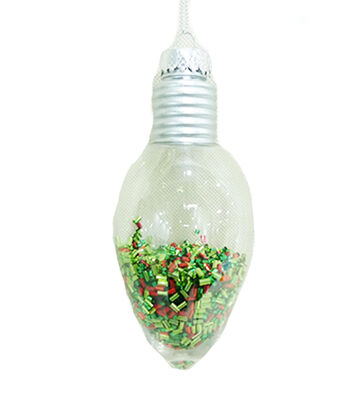Maker's Holiday Christmas Whimsy Workshop Bulb with Glitter Ornament
