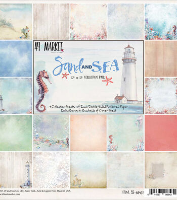 "49 And Market Sand & Sea Collection Pack 12""X12"" Cardstock Sheets 9pk"