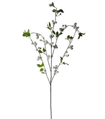 Blooming Holiday Christmas Berry Clusters & Leaf Spray-White & Green