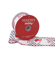 Maker's Holiday Christmas Ribbon 2.5''x25'-Santa Face on White, , hi-res