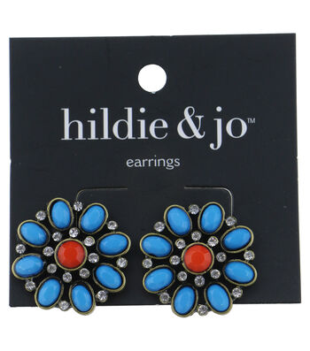 hildie & jo™ Flower Earrings-Turquoise & Red Stones with Crystals