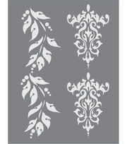 DecoArt® Americana® 8.5''x11'' Stencil-Brocade & Berry Borders, , hi-res