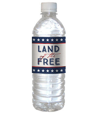 Americana Patriotic 12''x2.5'' Water Bottle Labels-Land of The Free