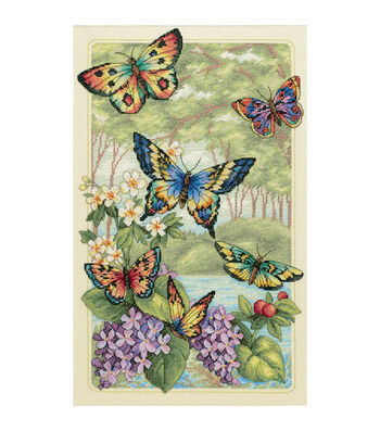 """Dimensions Gold Collection Butterfly Forest Cntd X-Stitch Kit-10""""X16"""""""