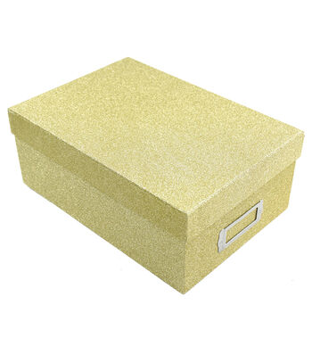 Photo Storage Box-Gold Glitter